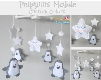 Baby Crib Mobile-Penguins Mobile-custom Made Mobile-Gray and White Nursery Mobile