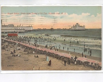 """New Jersey,  Vintage Postcard, """"Beach Scene, North from Young's Old Pier, Atlantic City"""", .N. J.  1916, #232-2"""