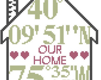 Housewarming Cross Stitch Pattern/Cross Stitch Housewarming/Longitude Cross Stitch/Latitude Cross Stitch/Modern Cross Stitch/Pattern/PDF