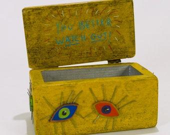 """Paula Joerling """"Better Watch Out"""" Painted Wood Art Box"""