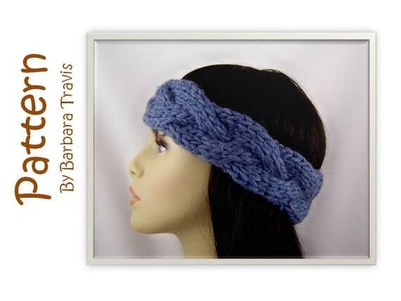 Knitting Pattern Ear Warmer Headband Wool E1003 Braided Cable