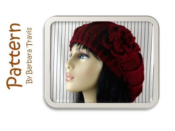 Knitting Crochet Pattern Slouchy Beret 1 X 4 Rib Design with Flower H1002 Knitted Hat Crocheted Flower