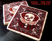 Drinktime With Pennywise Tumbled Marble Coaster Single, Set of 2 or 4 Stephen Kings IT