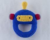 Robot Rattle  - PDF Crochet Pattern -  Instant Download - Animal Rattle Crochet Nursery Baby  Shower
