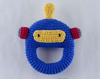 Robot Rattle  - PDF Crochet Pattern -  Instant Download - Animal Rattle Crochet Nursery Baby  Shower