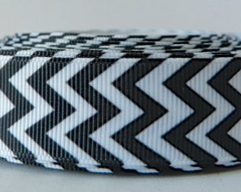 Black 22mm Chevron Grosgrain Ribbon