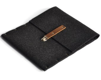 MacBook 13 RETINA case black sleeve felt briefcase cover with brown leather strap