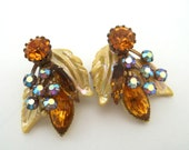 Rhinestone and Enamel Earrings
