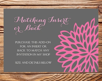 Matching Insert, Matching Back, Digital, Printable File