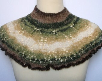 Women's hand knitted sparkly neckwarmer. Green and brown.  Fits all.