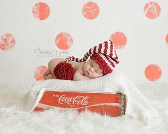Newborn Santa Hat, Newborn Elf Hat, Newborn Photo Prop, Newborn Christmas, Stocking Cap, Long Tail Hat, Baby Pom Pom Hat, Crochet Baby Hat