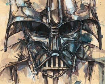 "Darth Vader 12"" x 12"" Digital Art Print Of Original Ink and Acrylic Painting"