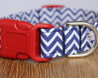 "Chevron Striped ""Made in the USA2"" Dog Collar - Girl Dog Collar - Boy Dog Collar - Adjustable Dog Collar - Chevron Dog Collar"