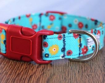 Blue Cornflower Dog Collar - Blue Dog Collar - Floral Dog Collar - Spring Dog Collar - Adjustable Dog Collar
