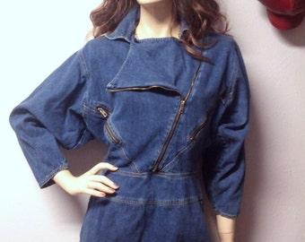 Vintage  80's Batwing Denim Dress lots of Zippers Sz  7/8