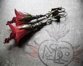Bohemian Gypsy Flower Earrings in Wine Red and Brass. Spring Flower Everyday Earrings