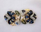 1940s CORO Duette Pin, Blue Lotus Flower, Adolf Katz, Enamel Rhinestone Duette Brooch, Vintage Jewelry - JryenDesigns