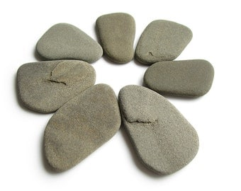 Flat Smooth Pebbles - Raw Undrilled Beach Stones - Shades of Gray