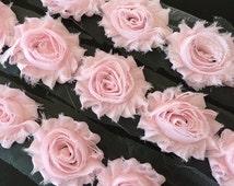 "Baby Pink Shabby Rose Trim 2.5"" Shabby Flowers Shabby Chiffon Flowers - Solid Shabby Chic Trim Wholesale Rosette trim 6cm 1 yard  #401"