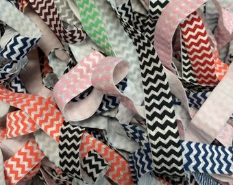 "Chevron FOE Fold Over Elastic - approx. 10 Yards Grab Bag 50% off - Shiny FOE 5/8"" inch Headbands Hair Ties Satin stretch Soft Elastic FOE"