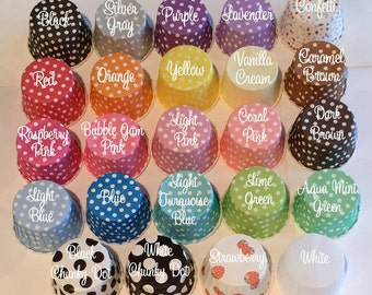 Candy Cups Nut Baking cupcake liners muffin grease proof  treat dips sauces cups - (50 pcs)  YOU PICK COLORS -Polka Dot or Stripe paper cups