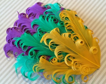 Curly Feather Pad -  Mardi Gras Purple Green & Yellow Feather Pad  FP130 - (1 piece)