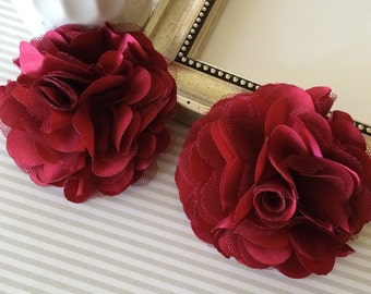 """Large 3"""" Burgundy satin tulle Fabric flower Maroon Satin mesh flowers choose flat back or with hair clip or brooch pin"""
