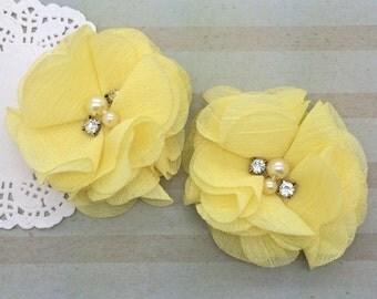 "Chiffon Flowers LEMON YELLOW with rhinestones & pearl centers (4 pcs) Whitney shabby chiffon layered flowers 2.5"" Hair shoe headband"