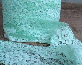 "Mint Lace Elastic 3"" Lace Stretch Elastic 7.8cm wide Light Green elastic trim baby headband lace elastic garter lingerie 3, 5, OR 10 yards"