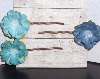 Hair Pins Bobby Pins Three shades of Blue Paper Flower Bobby Pins