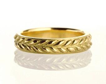Wedding band, wedding ring, leaf pattern ring, filigree, wreath, antique, art nouveau, vintage - 18k yellow gold