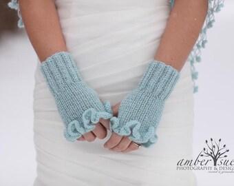 Bridal Gloves,Gloves,Mittens, Bridal Mittens, Wedding Gloves,Ruffle gloves, Fingerless, Blue Bridal gloves, Bridal shrug and gloves set