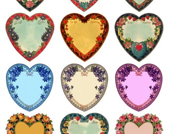 Blank Hearts Collage Sheet, 12 to a sheet - Valentine's, Love, Wedding - Digital Download JPG file by Swing Shift Designs