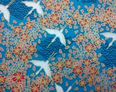 Crane above sea wave and floral, gold, turquoise, fat quarter, pure cotton fabric