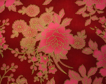 Bright pink peony, red, gold metallic, fat quarter, pure cotton fabric