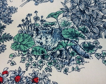 Colored animals in flowers, blue, fat quarter, pure cotton fabric
