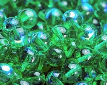 Czech Glass 8mm Translucent  Round AB Emerald Green Druk Beads -25 Czech Beads