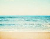 "Beach Photography - ocean sea seascape aqua blue landscape horizon beige coastal wall art seashore - 11x14, 8x10 Photograph, ""Carefree"""