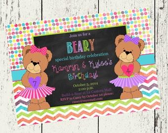 Teddy Bear Party-Build A Bear Birthday-Chalkboard Invite-Casbury Lane