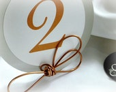 Rustic Ranch Cowboy Wedding Decor, Copper Knot Table Number Holders,  3pcs