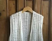 70s cream waistcoat hand crochet gillet hippie waistcoat hippy vest kntted sweater  Dolly Topsy Etsy UK