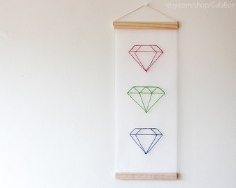 Diamonds collection small - Hand embroidered banner - Geometric - 20x8 inches - Fuchsia Green Blue