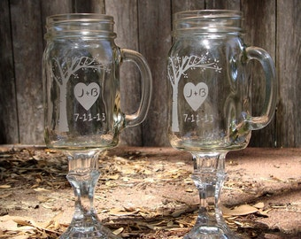 Personalized Custom Redneck Wine Glasses with Romantic Blooming Tree - Best Seller! - Wedding Toasting Glasses - Wedding Shower Gift