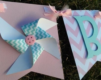 Pink aqua banner. Chevron Banner. Pinwheel Banner. Pinwheel Baby Shower. Pinwheel Birthday. Baby Shower Decorations. Baby Girl banner.