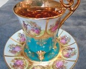 D W Porzellan Karlsbader Wertarbeit since 1921 gilt gold and teal demitasse cup and saucer rare and beautiful
