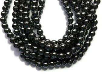Black Hematite - Non Magnetic  - 6mm Round Bead - Full Strand - 70 beads - gray grey gunmetal pewter