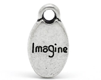 Imagine Oval Antique Silver Charms   (b1227)