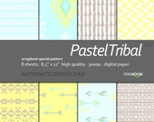 "Digital Paper + Tribal Pastel  + Scrapbook Quality Paper Pack  (8.5x11""- 300 dpi)   8 sheet pack paper  037 + Instant Download +"