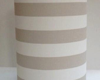 """Medium Drum Lamp Shade in taupe 2"""" stripe"""