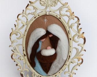 Nativity - Vintage Nativity - Christmas Nativity - Needle Felted Nativity